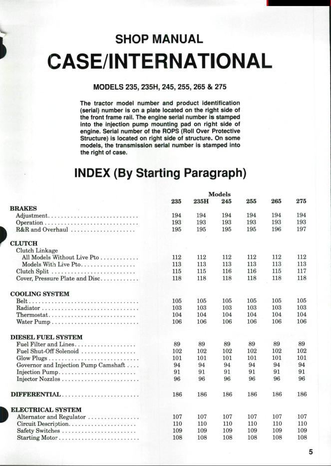 Case IH Tractors Models 235 235H 245 255 265 275 Shop Manual PDF – Ih 245 Wiring Diagram