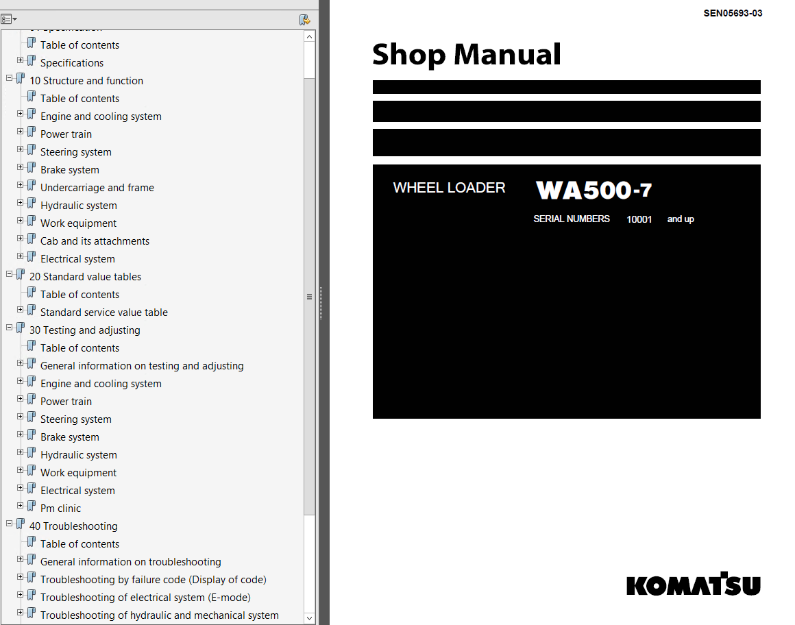 Komatsu Wheel Loader WA500-7 Shop Manuals PDF