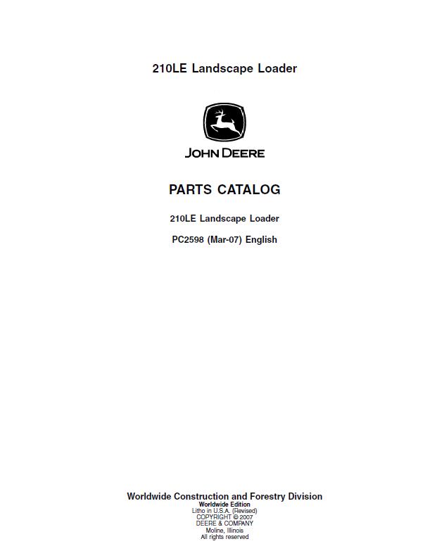 john deere 210le landscape loader pdf pc2598 parts catalog. Black Bedroom Furniture Sets. Home Design Ideas