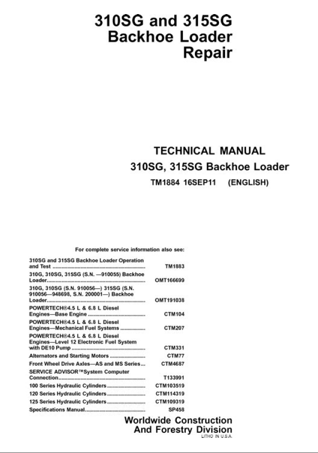 John Deere 310SG 315SG Backhoe Loader Repair Manual workshop service john deere 310sg 315sg backhoe loader pdf manual john deere 310sg wiring diagram at bayanpartner.co
