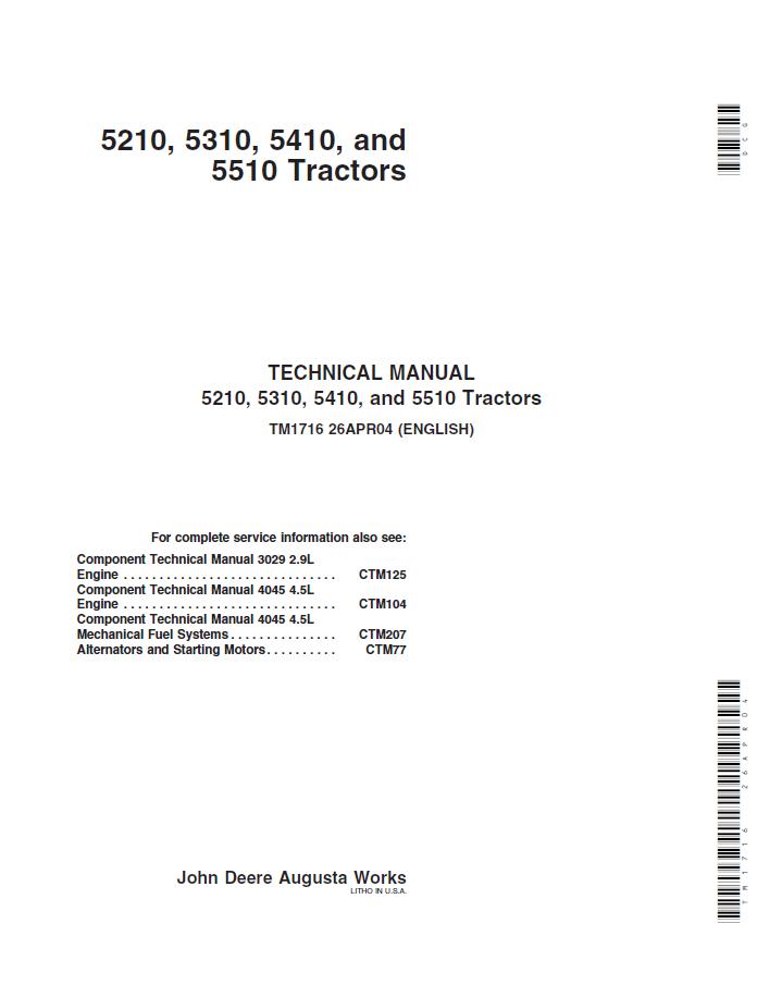 John Deere 5210 5310 5410 5510 Tractor Technical Repair Manual john deere 5210 5310 5410 5510 tractor technical manual tm1716