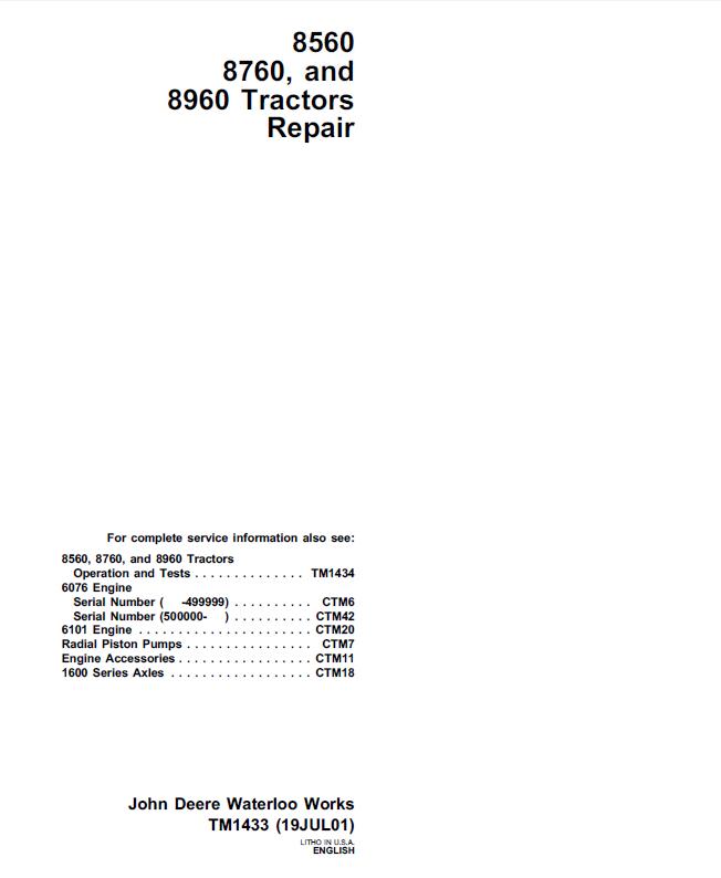 john deere c214g wiring diagram john deere 8560 8760 8960 tractors repair tm1433 pdf john deere 8960 wiring diagram #13