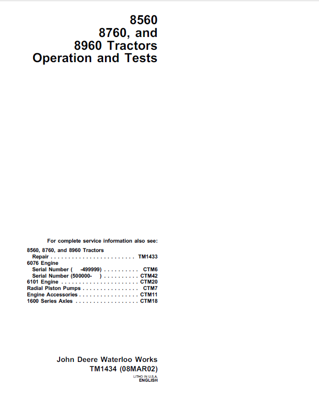 john deere 8560 8760 8960 tractors operation and tests tm1434 technical pdf john deere 8560, 8760, 8960 tractors operation and tests tm1434 pdf