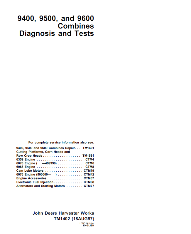 John Deere 9400 9500 9600 Combines Diagnosis Tests Pdf