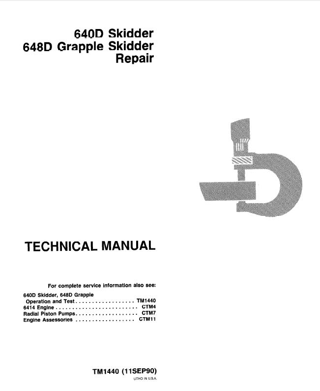 john deere 640d 648d skidders repair tm1440 technical manual pdf repair manual john deere 640d 648d skidders repair tm1440 technical manual pdf
