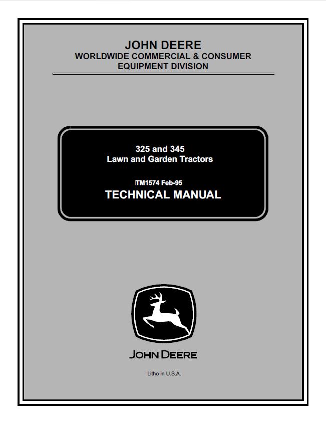 John Deere 325 345 Lawn Garden Tractors Tm1574 Technical