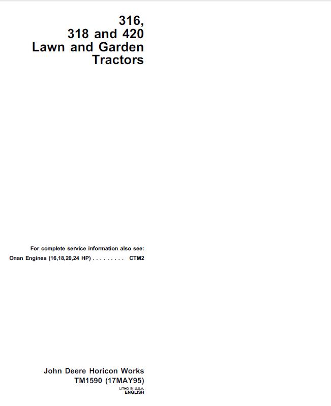 john deere 316 318 420 lawn garden tractors tm1590 pdf. Black Bedroom Furniture Sets. Home Design Ideas