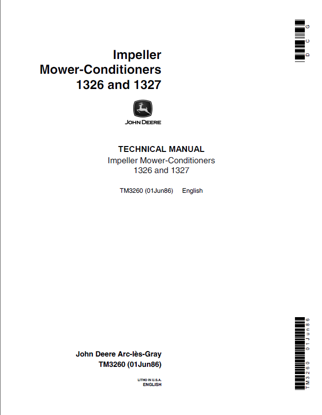 John Deere 1326, 1327 Impeller Mower-Conditioners TM3260 Technical Manual  PDF