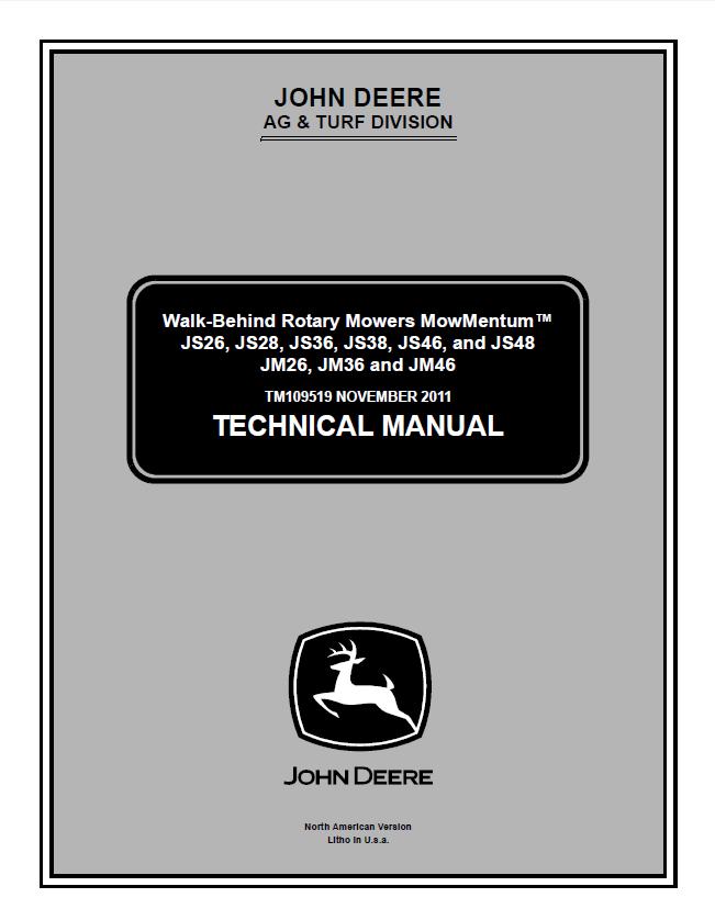 John Deere Walk-Behind Rotary Mowers MowMentum TM109519 Technical Manual PDF