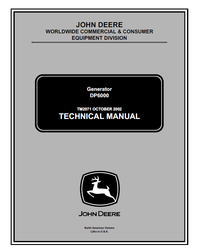 john deere dp6000 generator tm2071 technical manual pdf