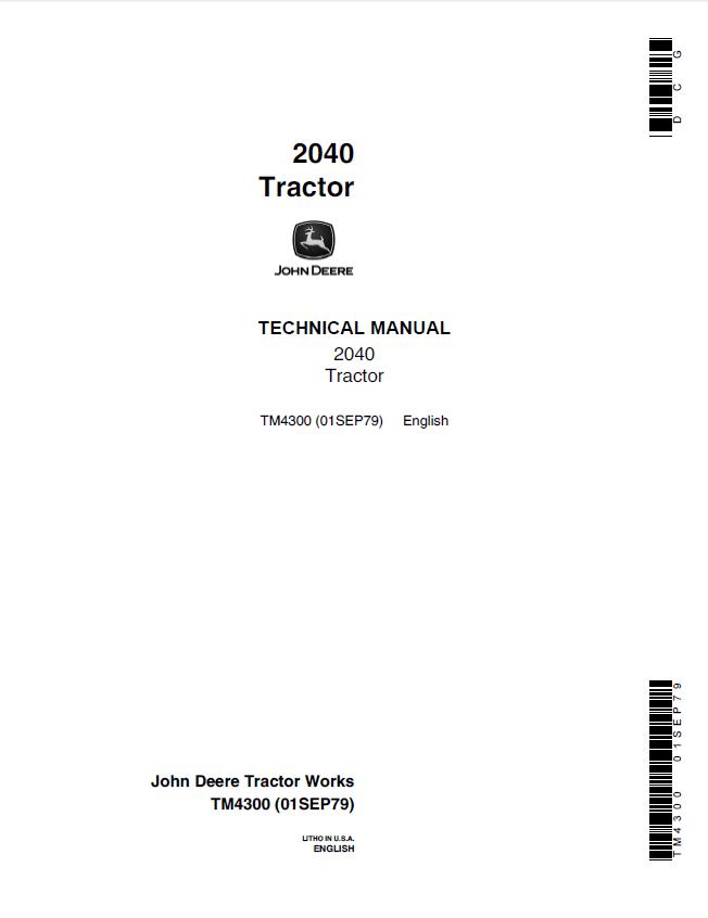 John Deere 2040 Tractor TM4300 Technical Manual PDF
