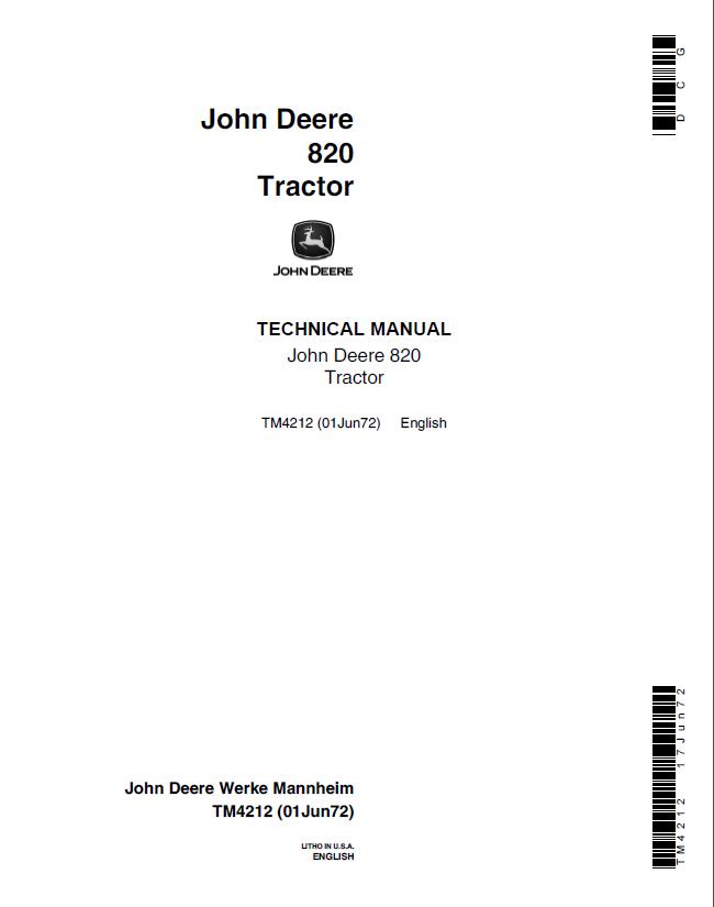 john deere 820 tractor tm4212 technical manual pdf rh epcatalogs com john deere 8200 manual john deere 820 tiller manual