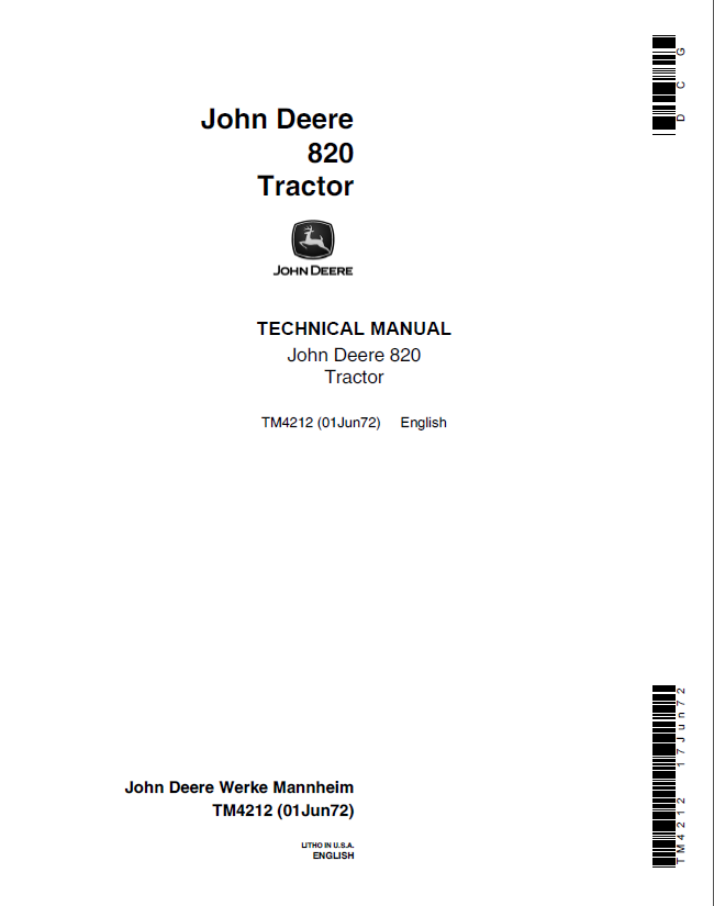 john deere 820 tractor tm4212 technical manual pdf. Black Bedroom Furniture Sets. Home Design Ideas
