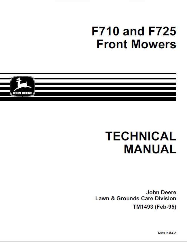 John Deere F710 F725 Front Mowers Tm1493 Pdf Manual