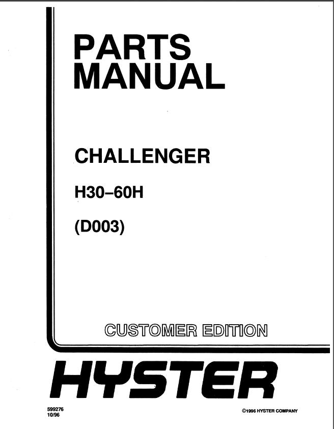 hyster challenger d003 h30h h40h h50h h60h forklift service repair manual p hyster challenger (d003) h30h, h40h, h50h, h60h forklifts parts Hyster Fork Trucks Repair Manuals at bakdesigns.co