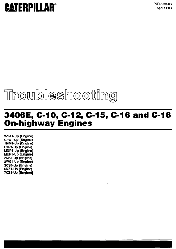 caterpillar 3406e c 10 c 12 c 15 c 16 c 18 on highway engines repair manual caterpillar 3406e c 10 c 12 c 15
