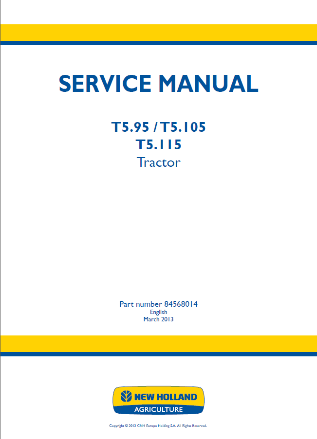 New Holland T5 95 T5 105 T5 115 Tractor Service Manuals PDF