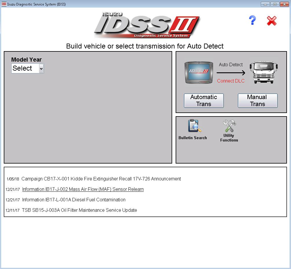 Isuzu IDSS II Diagnostic Service System 02/2018