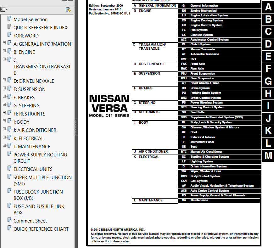 Nissan Versa Model C11 Series 2010 Service Manual Pdf