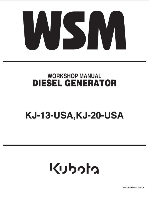 Kubota kj 1320 usa generators workshop manual pdf download repair manual kubota kj 13 usa kj 20 usa diesel generators cheapraybanclubmaster Images
