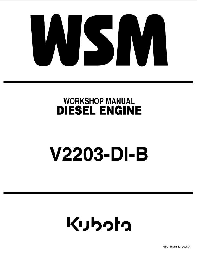 kubota v2203 di b diesel engine workshop manual pdf rh epcatalogs com Kubota V2203 Service Manual Kubota V2203 Torque Specs