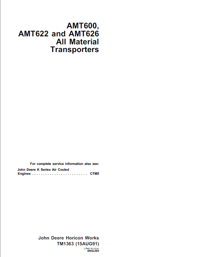 repair manual john deere amt600, amt622, amt626 all material transporters  tm1363 technical manual pdf