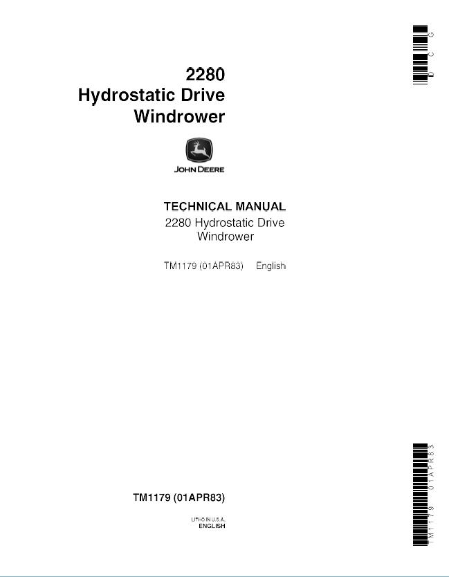 John Deere 2280 Hydrostatic Drive Windrower TM1179 Technical – John Deere 1520 Alternator Wiring Diagram