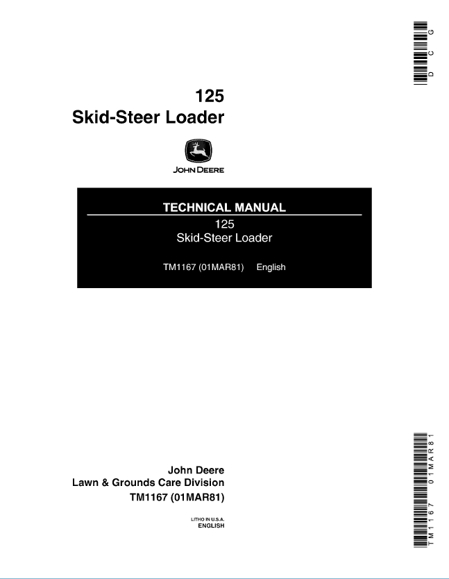 John Deere 125 Skid-Steer Loader TM1167 Technical Manual PDF on