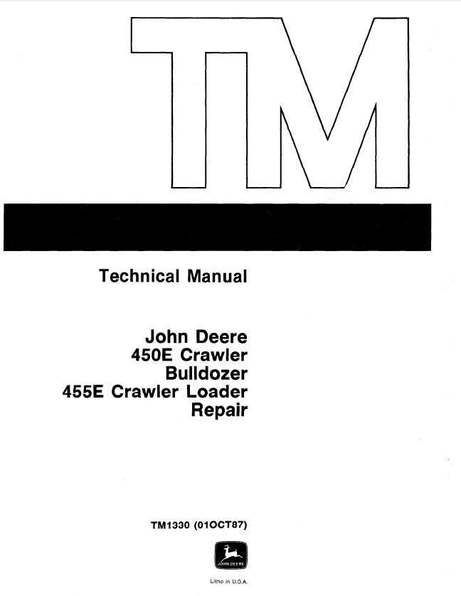 john deere 450e  455e repair tm1330 technical manual pdf