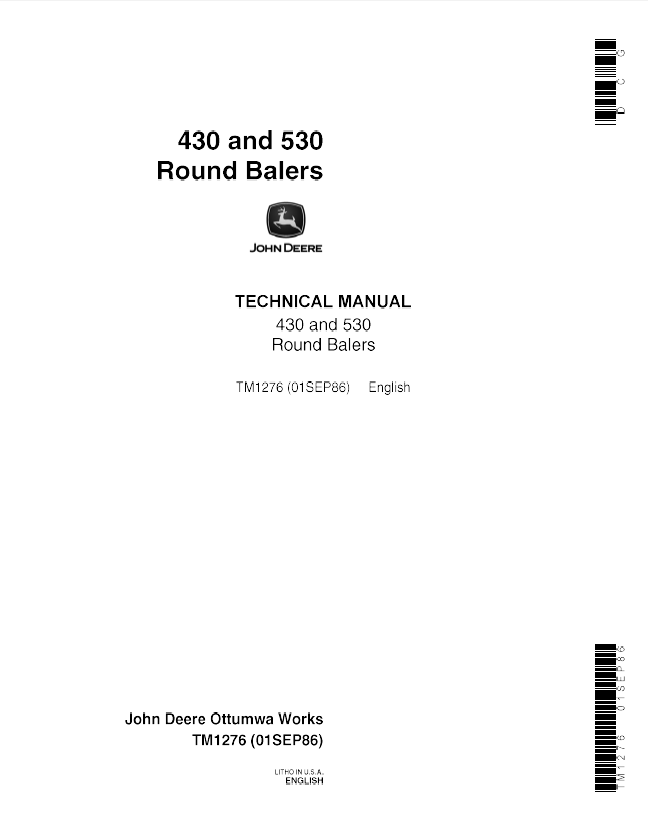 John Deere 430 530 Round Balers Tm1276 Technical Manual