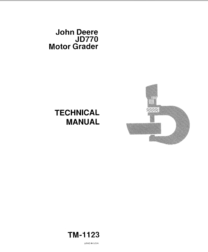 John Deere Jd770 Motor Grader Tm1123 Technical Manual