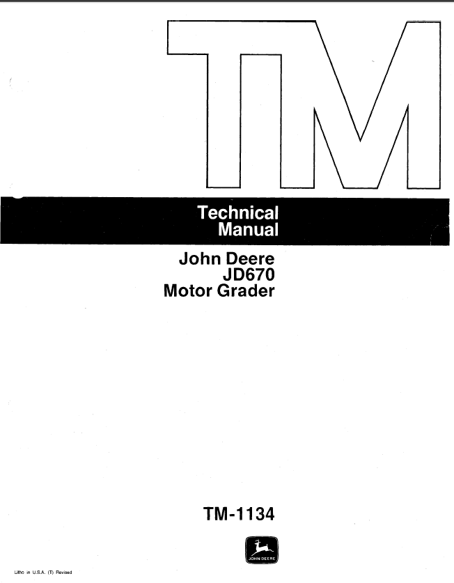 john deere jd670 motor grader tm1134 technical manual