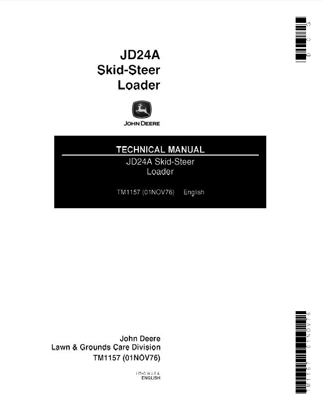 john deere jd24a skid steer loader tm1157 pdf manual. Black Bedroom Furniture Sets. Home Design Ideas