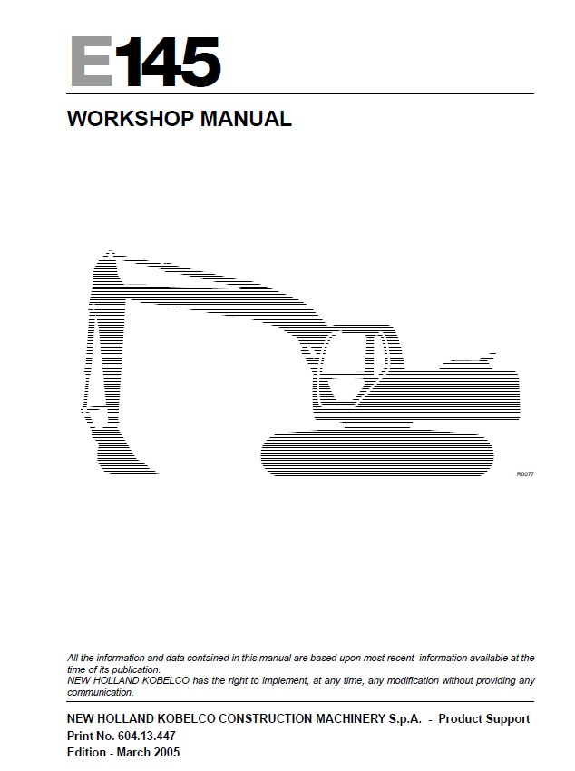 New Holland E145 Excavator Workshop Manual Pdf