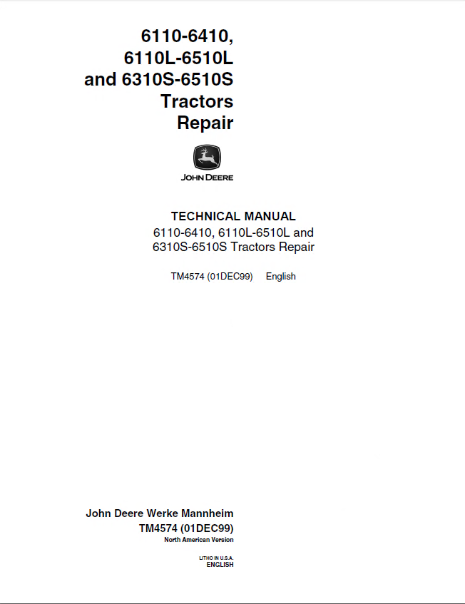 repair manual john deere 6110-6410 & 6110l-6510l & 6310s-6510s tractors