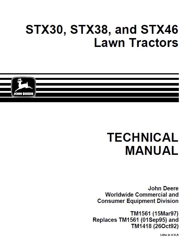 John Deere STX30 STX38 STX46 Lawn Tractors TM1561 PDF
