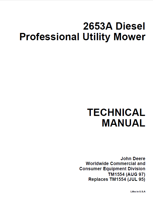 john deere 2653a diesel professional utility mower tm1554 techical manual john deere 2653a diesel professional utility mower tm1554 techical john deere 2653a wiring diagram at bakdesigns.co
