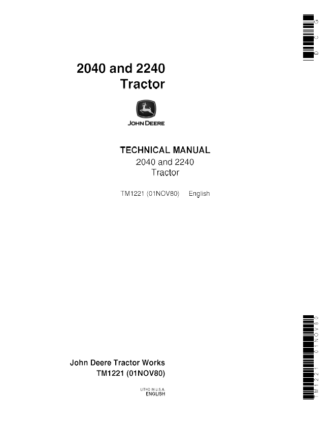 John Deere 2040  2240 Tractor Tm1221 Technical Manual Pdf