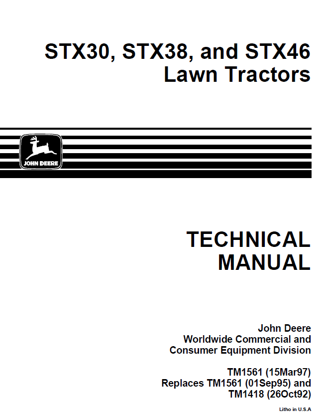 john deere stx30 stx38 stx46 lawn tractors tm1561 technical manual pdf john deere stx30, stx38, stx46 lawn tractors tm1561 technical stx38 wiring diagram at gsmx.co