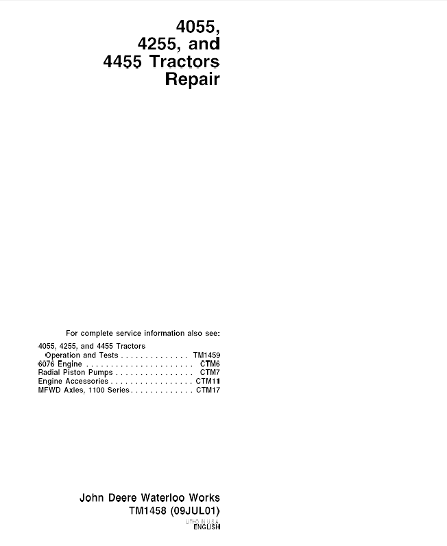 john deere tractors 4055 4255 4455 tm1458 repair technical manual John Deere Lawn Mower Wiring Diagram john deere 4055 wiring schematic