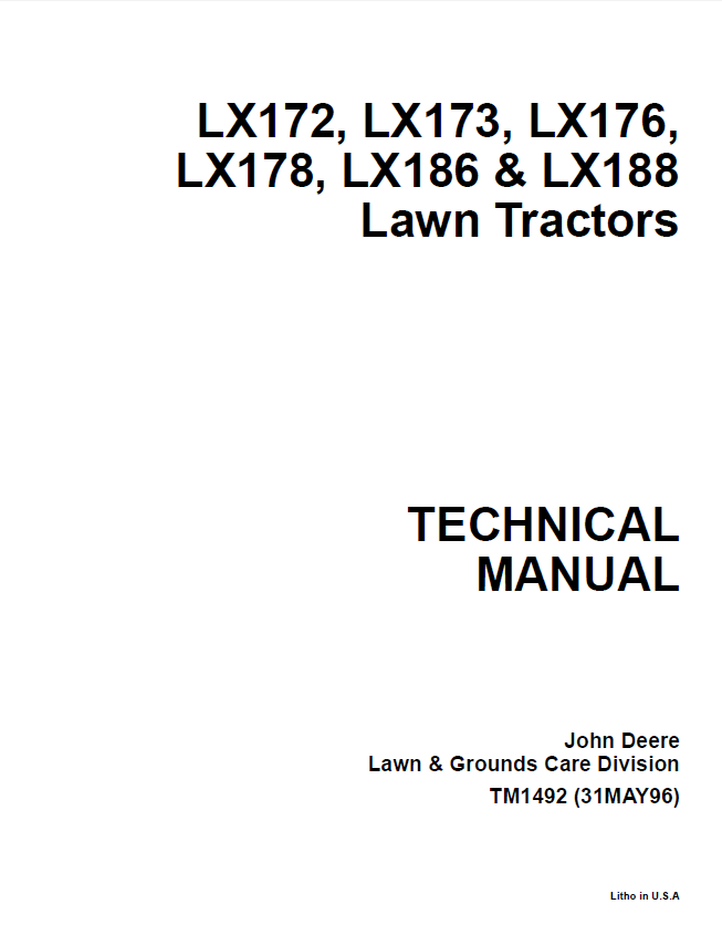 john deere lx172 lx173 lx176 lx178 lx186 lx188 lawn tractors tm1492 pdf john deere lx172, lx173, lx176, lx178, lx186, lx188 lawn tractors john deere lx178 wiring diagram at edmiracle.co