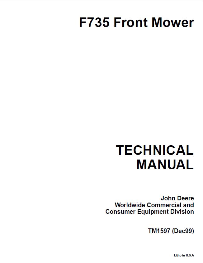 Repair Manual John Deere F735 Front Mower Tm1597 Techical Pdf: John Deere F735 Wiring Diagram At Shintaries.co