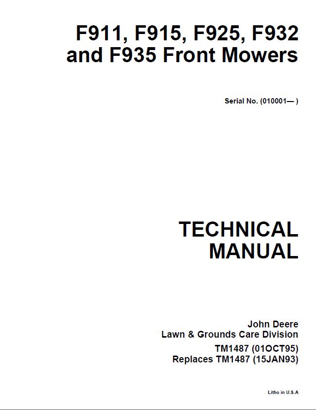 john deere f911 f915 f925 f932 f935 front mower tm1487 technical manual pdf john deere f911, f915, f925, f932, f935 front mowers tm1487 John Deere LT133 at n-0.co