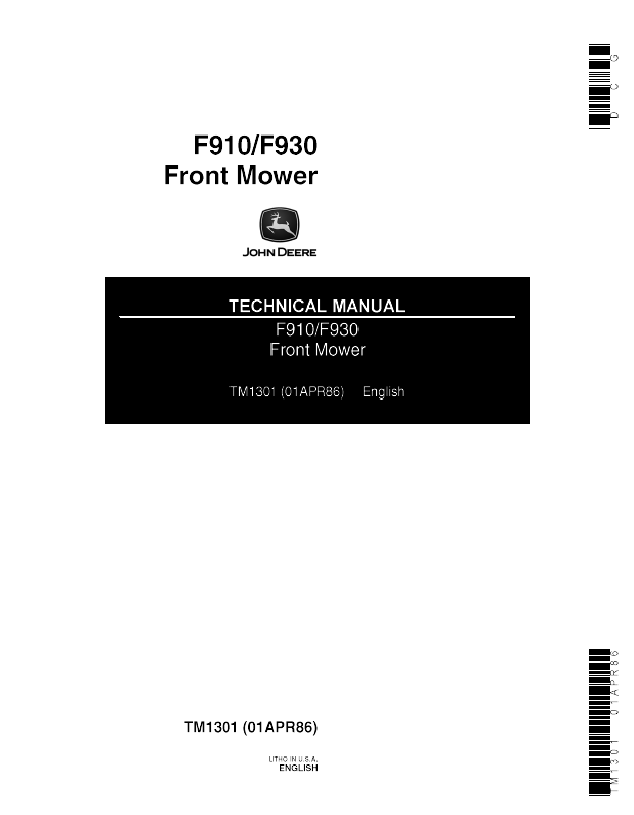 john deere f910 f930 front mower tm1301 technical manual rh epcatalogs com John Deere 318 Loader JD 318 3-Point Hitch