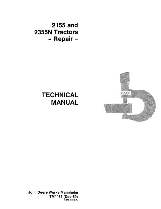 john deere 2155 wiring diagram free picture john deere 2155 2355n tractors repair tm4435 pdf manual  john deere 2155 2355n tractors repair