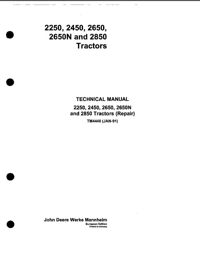 john deere 2250 2450 2650 2650n 2850 tractor tm4440 pdf rh epcatalogs com john deere 2240 manuals john deere 2550 manual hydraulic system