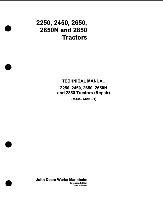 John Deere 2250 2450 2650 2650n 2850 Tractor Service Manual Pdf