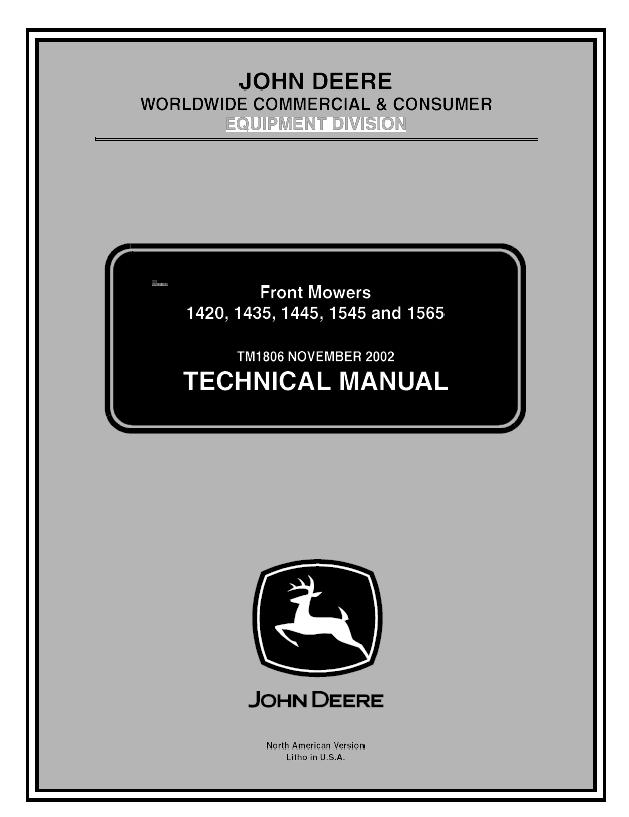 John Deere 1420 1435 1445 1545 1565 Front Mowers Tm1806