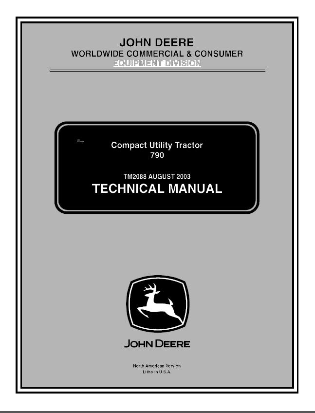 John Deere 790 Compact Utility Tractor Tm2088 Pdf Manual