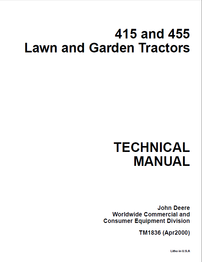 john deere 415 455 lawn garden tractors tm1836 technical manual pdf john deere 415, 455 lawn garden tractors tm1836 technical manual john deere 2653a wiring diagram at bakdesigns.co
